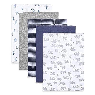 Burt's Bees Baby - Burp Cloths, 5-Pack Extra Absorbent 100% Organic Cotton Burp Cloths (Wandering Elephants)