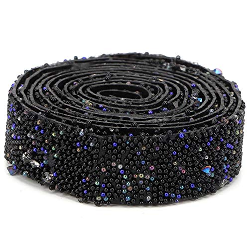 Sequins Trim, Fine Workmanship Sturdy Stylish Shiny Long Term Use DIY Trim Ribbon, Decorate Bags for DIY(Black)