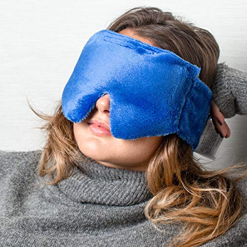 Huggaroo Hot & Cold Weighted Eye Mask for Headache Relief with Lavender Aromatherapy, Blue