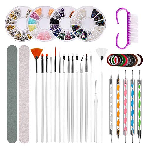 Gobesty Nail Art Pinsel Set, 15 Gel Pinsel für Nägel 4 Boxen Nail Art Strass Kit 10 Rolle Gemalte Linie 5 Punktierung Stift Nail Art Zubehör mit Schleifstreifen Polierstreifen Klauenbürste