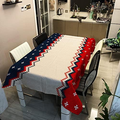 Mantel de Cocina geométrico Verde-Rojo, Mantel Impermeable y a Prueba de Aceite, tapete de Picnic para la Mesa de Centro de la Sala de Estar M-7 140x160cm