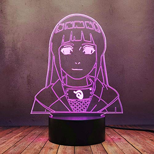 Nórdico moderno dibujos animados LED lámpara Japón anime Uzumaki Naruto Hyuuga Hinata 3D creativo noche luz hogar dormitorio viejo sueño comic tienda regalo bombilla