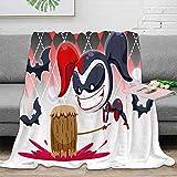 Coobal Harley Quinn Manta de forro polar, tamaño de pájaros, lavable para mejorar el sueño para niños y adultos