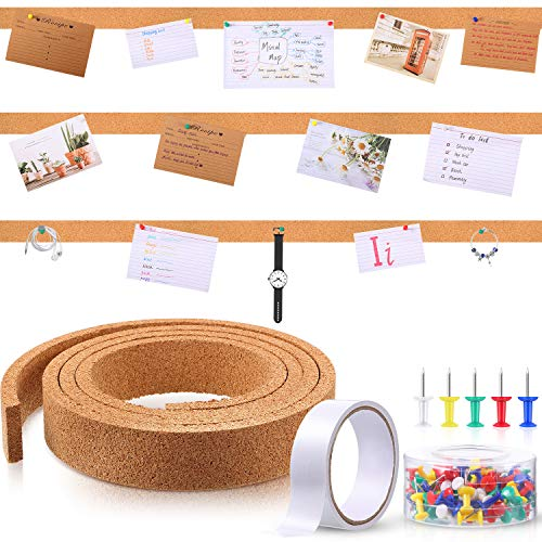 79 Inch Cork Strips Bulletin Bar Strips Frameless Cork Board Memo Strip with 1 Roll Double-Side Tape and 100 Multi-Color Map Thumb Tacks Pushpins in 1 Box for Office, School and Home (Brown)