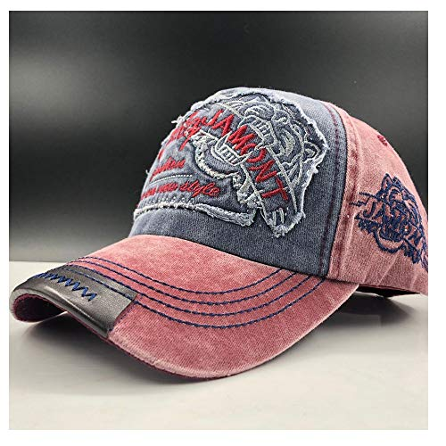 HHHCM-US Men Washed Cotton Casual Style Embroidery Letter Tiger Baseball Cap Casual Hat Adjustable Retro Cap (Color : Wine red, Size : 56-60CM)