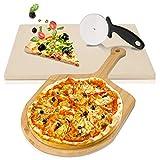 wolketon Pierre à Pizza avec Pelle à Pizza en Bambou et Couteau à Pizza Coupe-Roue, pour Pizza BBQ et Pâtisseries, en Cordiérite de Haute Qualité pour Le Four et Le Gril (38 x 30 x 1,5 cm)