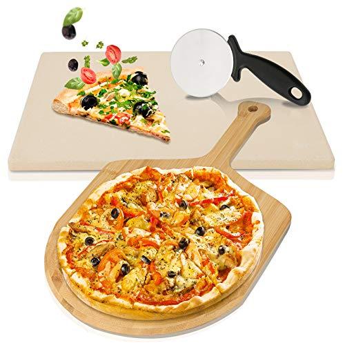 wolketon Pizzastein 1,5cm für Backofen und Grill inkl. Bambus Holz Pizzaschaufel, Hitzebeständige Brotbackstein 38 x 30 x 1,5 cm