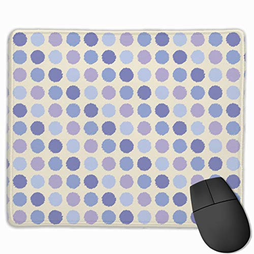 Macarons Huge Dots Geometric Polka Girl Spots Mouse Pad Mat with Stitched Edge Rubber Base Waterproof Surface Mousepad for Computers Laptop