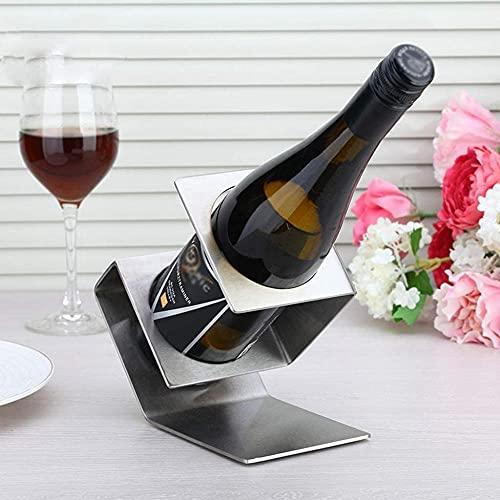 KANGNING Moderno de Acero Inoxidable Tabla de Vino Titular de una Sola Botella de Vino Pantalla Pantalla de Vino Elegante Organizador de Botella de Vino para Amantes del Vino Well