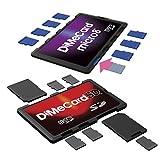 DiMeCard- Pacchetto in offerta di portaschede SD e micro8 per schede di memoria SD e microSD, di dimensioni di una carta di credito, con etichette scrivibili