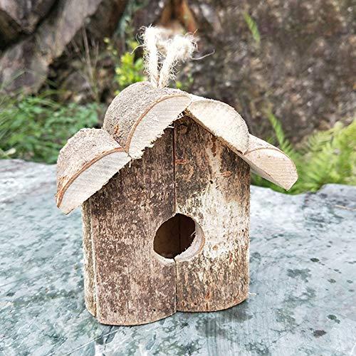 ZANGAO Elevage Nest Bricolage Hanging Forme de Cabine décorative Swallows Parrot en Bois Installation Facile Slanting Roof Garden Bird House extérieure (Color : Natural)