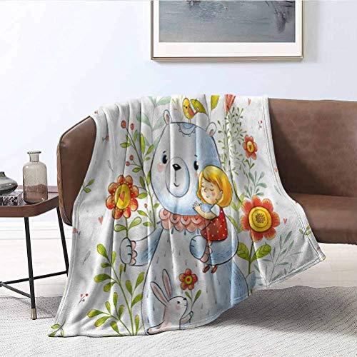ParadiseDecor Cartoon Travel Blanket Teddy Bear Toy in Garden Super Soft Cozy Luxury Bed Blanket Microfiber 60x60 Inch