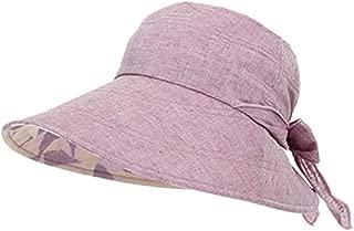 Shengshihuitong Sombrero para el sol de algodón con protección UV y correa para la barbilla: se puede empaquetar en un elegante sombrero de verano de ala ancha. Adecuado para viajes de playa, senderis