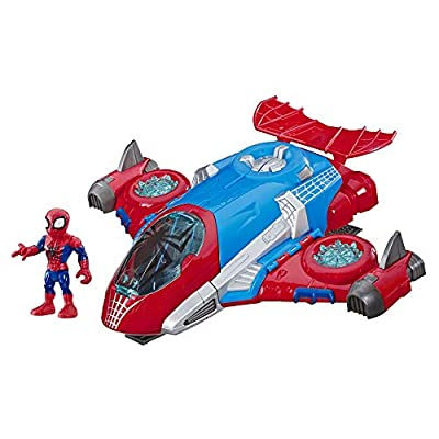 Playskool Heroes Marvel SUPER HERO ADVENTURES Spider-Man Jetquarters, 5-Inch Action Figure and Vehicle Set, Toy Jet, Collectible Toys for Kids From 3 Years Old from Hasbro