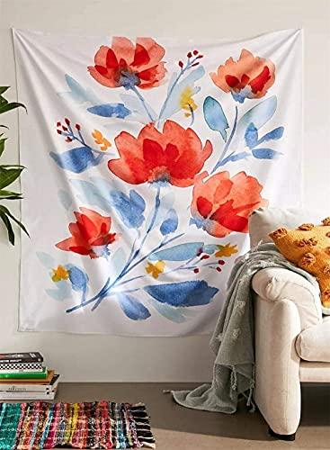 Tapiz de flores silvestres, plantas florales, hierbas botánicas, tapiz ilustrativo con palabra, beige vintage tarot vertical para colgar en la pared, mantas para dormitorio de niña, 150 x 100 cm
