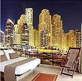 Wffmx Papel Tapiz Fotográfico 3D Personalizado Dubai City Night Landscape Mural 3D Sala De Estar Dormitorio Fondo Papel Tapiz Murales Papel Tapiz 3D-140X100Cm