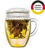 Creano Teeglas all in one, Große Teetasse mit Sieb und Deckel aus Glas, 400ml - 9