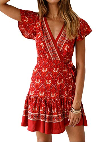R.Vivimos Women's Summer Short Sleeve Casual Bohemian Beach Ruffle Floral Print Bow Tie Short Sun Dress (XL, Red-2)