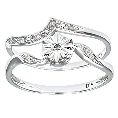 Naava Women's 9 ct White Gold 0.03 ct Diamond Wishbone Shape Bridal Set Ring