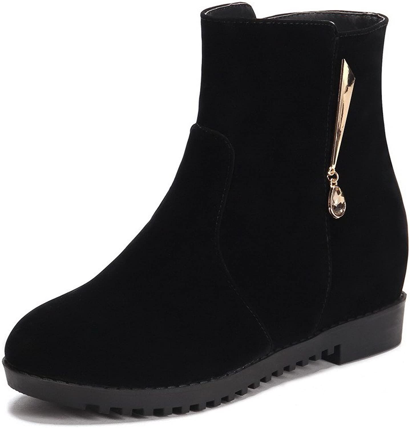 WeenFashion Women's Round Closed Toe Kitten-Heels Frosted Solid Low-Top Boots