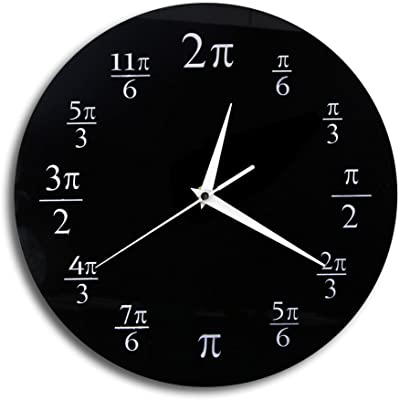 The Geeky Days 3.14 Pi Wall Clock Mathematical Pi Classroom Wall Decor Black Acrylic Pop Quiz
