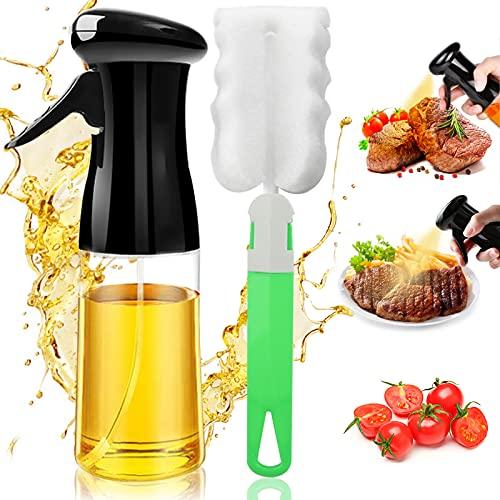 Oil Sprayer for Cooking, Reusable Oil Spray Bottle with Brush Refillable Olive Oils Dispenser, Versatile Food Grade Vinegar Spritzer PET Plastic Bottle for Air Fryer Kitchen BBQ Baking 7Oz/200ML Black
