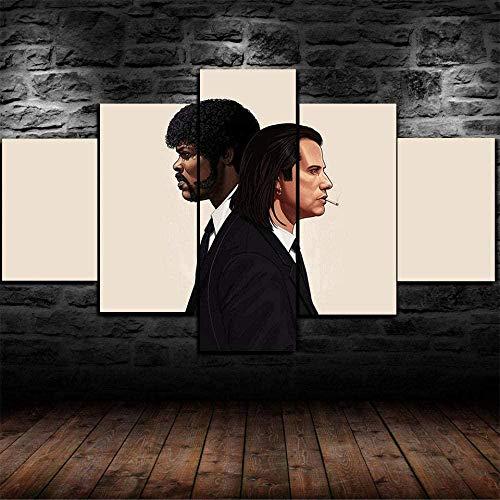 5 piezas cuadro en lienzo Cuadro compuesto por 5 lienzos impresos en HD, utilizados para decoración del hogar y carteles Literatura basura (150x80cm sin marco)