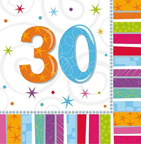 16 Papier Servietten mit der Zahl 30 3lg. 32,7 x 32,7cm 30. Geburtstag