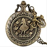 TIDRT Vintage Bronze Dream Alice In Wonderland abbit Poker Carrusel Accesorio Reloj De Bolsillo De Cuarzo Cadena Collar Colgante, Niñas