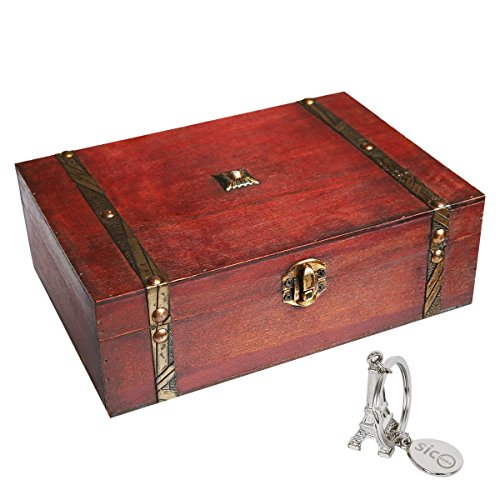 SICOHOME Treasure Box,9.0' Pirate Small Wooden Box for Jewelry Storage,Cards Collection,Gifts and Home Decoration