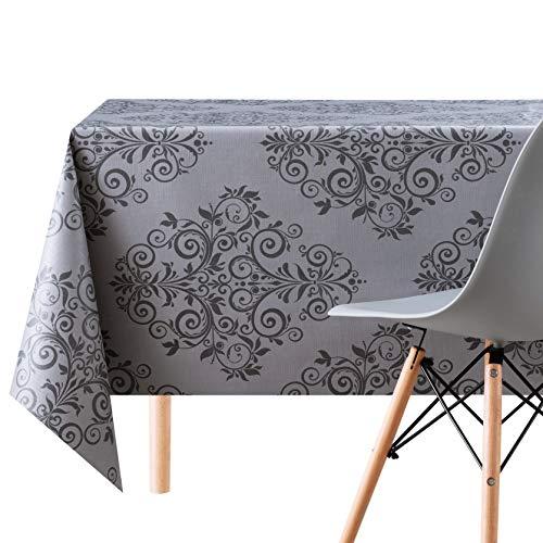 Mantel de hule de PVC, 200 x 140 cm, diseño de damasco en relieve, grueso, rectangular, lavable, color gris oscuro y negro