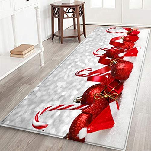 Fematte Küche Teppich Suede Weihnachtsbaum-Dekoration Absorbent Anti-rutsch-Eingang Badezimmer Runner Mat,B,60x180cm