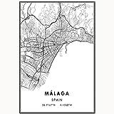 HZLYCH Póster de Mapa de Málaga Pintura en Lienzo para la decoración del Dormitorio de la Sala de Estar -50X70 CM sin Marco