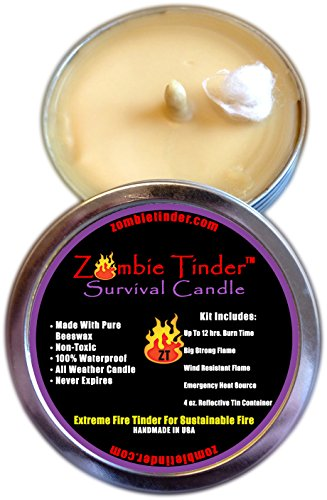 Zombie Tinder - Extreme Survival Candle - Over 12 Hours of Total Burn Time - Easy Light Wick - Spark Light