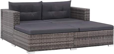 vidaXL 3 Pieces Garden Lounge Set with Padded Cushions Poly Rattan Patio Sofa 2 Corner Sofa 1 Adjustable Sun Lounger Patio...