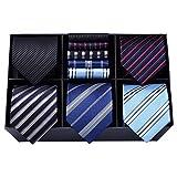 HISDERN Lot 5 PCS Classique elegant formel La soie des hommes Cravate Set Cravate & Carre de poche-Ensembles multiples