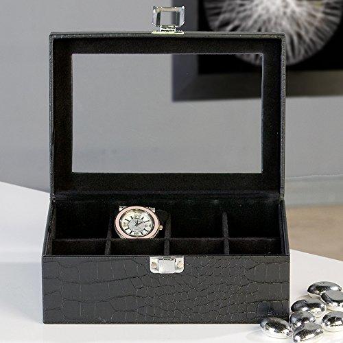 Casablanca Design Uhrenbox aus Leder in schwarz für 8 Uhren