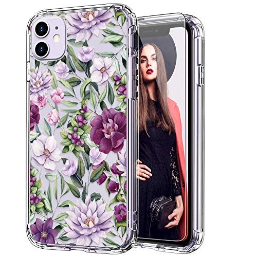 ICEDIO iPhone 11 Case with Screen Protector,Clear with Fashion Floral Designs for Girls Women,Shockproof Slim Fit TPU Cover Protective Phone Case for Apple iPhone 11 6.1 inch Beautiful Blossoms