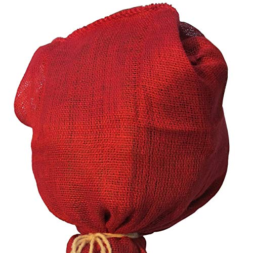 AFP Jutesack Pflanzen, Rot, 100 x 110cm, 230g/qm Feste Qualität - Naturmaterial Winterschutz Rosen/Frostschutz Blumenkübel/Gartendeko / 2 Jutesäckchen Gratis
