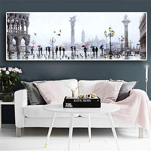 YJFFBH Lienzo De Pintura Ciudad Lluvia Escenas Callejeras Pintura Al Óleo sobre Lienzo Paisaje Edificios Y Pared De Impresión para Sala De Estar