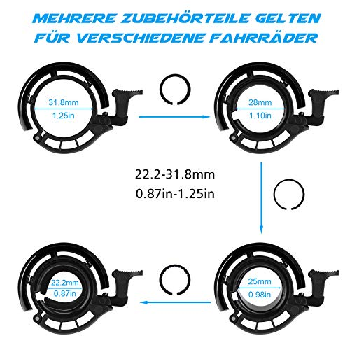 WOTEK Fahrradklingel, Innovative Mini Fahrradglocke Klingel Fahrrad 100dB Klingel laut, Aluminiumlegierung Fhradklingeln O Design Schwarz Fahrradhupe für Bike MTB Mountainbike, 22.2-31.8 mm Lenker - 5