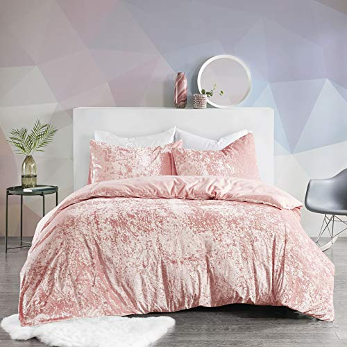 SCM Bettwäsche 230x220cm Rosa Einfarbig Mikrofaser Übergröße 3-teilig Bettbezug Kissenbezüge 50x75cm Crushed Velvet Ideal für Winter