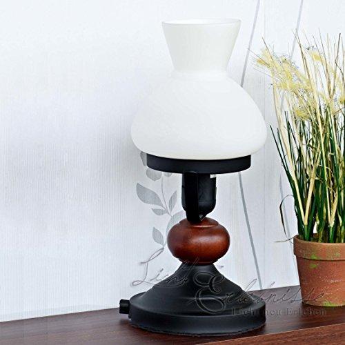 Rustikale Tischlampe Braun Holz Metall Glas Landhausstil Wohnzimmer Schlafzimmer Nachttischleuchte