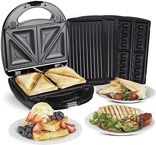 FANQIE Sandwichera Gourmet/Tostadora 3 En 1 Waffle Maker, Panini Maker con 3 Placas De Aluminio Antiadherentes Reemplazables para Parrilla/Parrilla, para Tostadas/Panini's/Snacks Toastie Maker