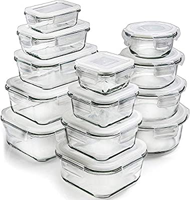 Prep Naturals Glass Storage Containers with Lids (13-Pack) - Glass Food Storage Containers Airtight - Glass Containers with Lids - Glass Meal Prep Containers Glass Food Containers