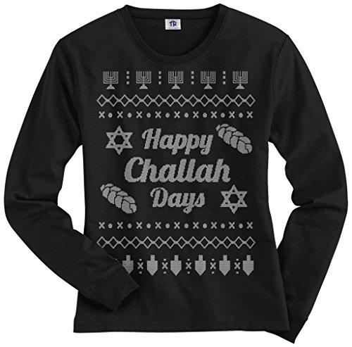 Threadrock Women's Happy Challah Days Ugly Sweater Long Sleeve T-Shirt S Black
