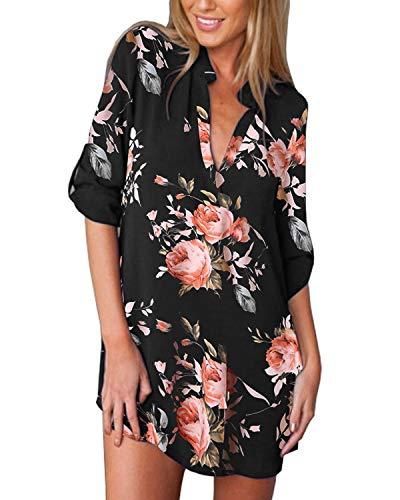 ZANZEA Camicia Donna Chiffon Sexy Stampa Camicetta Lunga Elegante Scollo V Manica 3/4 Sciolto Blusa Casual Stampa Nera 3 38 EU