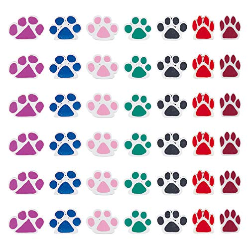 NBEADS 100 Pcs Dog Paw Prints Handmade Polymer Clay Beads Mixed Color Loose Animal Polymer Clay Beads for Craft Jewelry Making