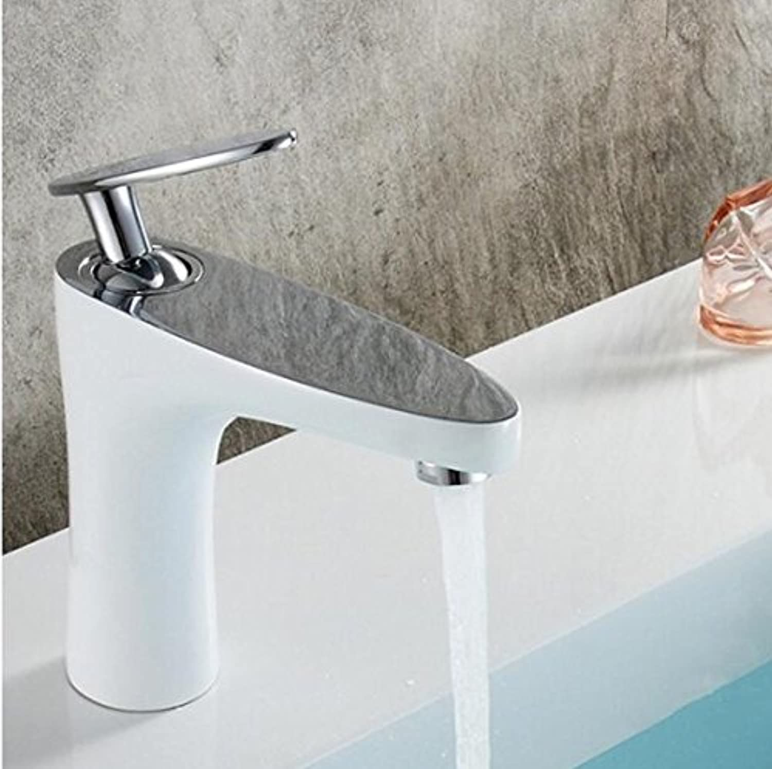 ROKTONG Bathroom Basin Brass Faucet Weiß Painting, schwarz Painting, Golden Faucet. Basin Sink Mixer Tap hot&Cold Leaves,F