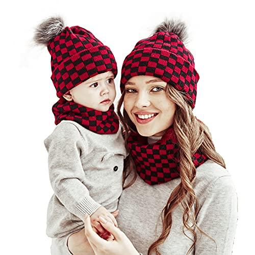 Familia a juego invierno sombrero bufanda madre bebé Navidad punto Beanie Cap círculo bucle cuello calentador padre-niño ganchillo Pom sombrero, 4pcs Mom&baby Red